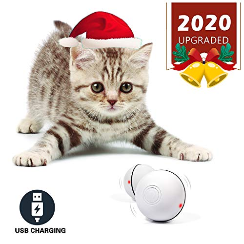 YOFUN Smart Interactive Cat Toy – Newest Version 360 Degree Self Rotating Ball, USB Rechargeable Wicked Ball, Build-in Spinning Led Light, Stiulate Hunting Instinct for Your Kitty (White) m