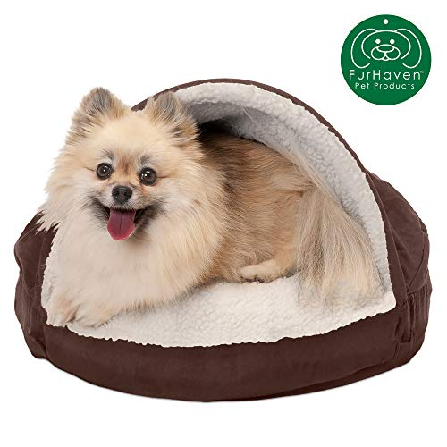 Furhaven Pet Dog Bed | Orthopedic Round Cuddle Nest Faux Sheepskin Snuggery Blanket Burrow Pet Bed w/ Removable Cover for Dogs & Cats, Espresso, 18-Inch